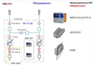 Пример подключения дифференциальной защиты трансформатора 35/10 кВ к ТТ