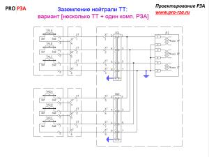 Заземление нейтралей токовых цепей (от трансформаторов тока)