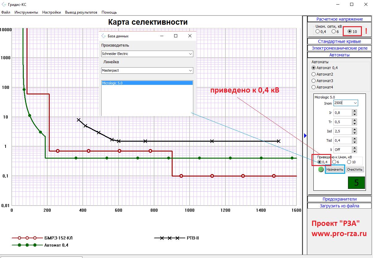 Времятоковая характеристика Micrologic 5.0 Гридис-КС