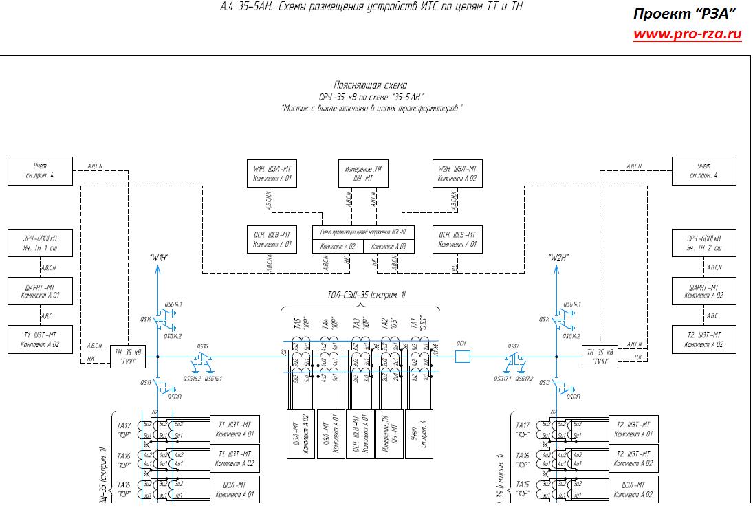 Схема размещения защит по ТТ и ТН для схемы 35-5АН
