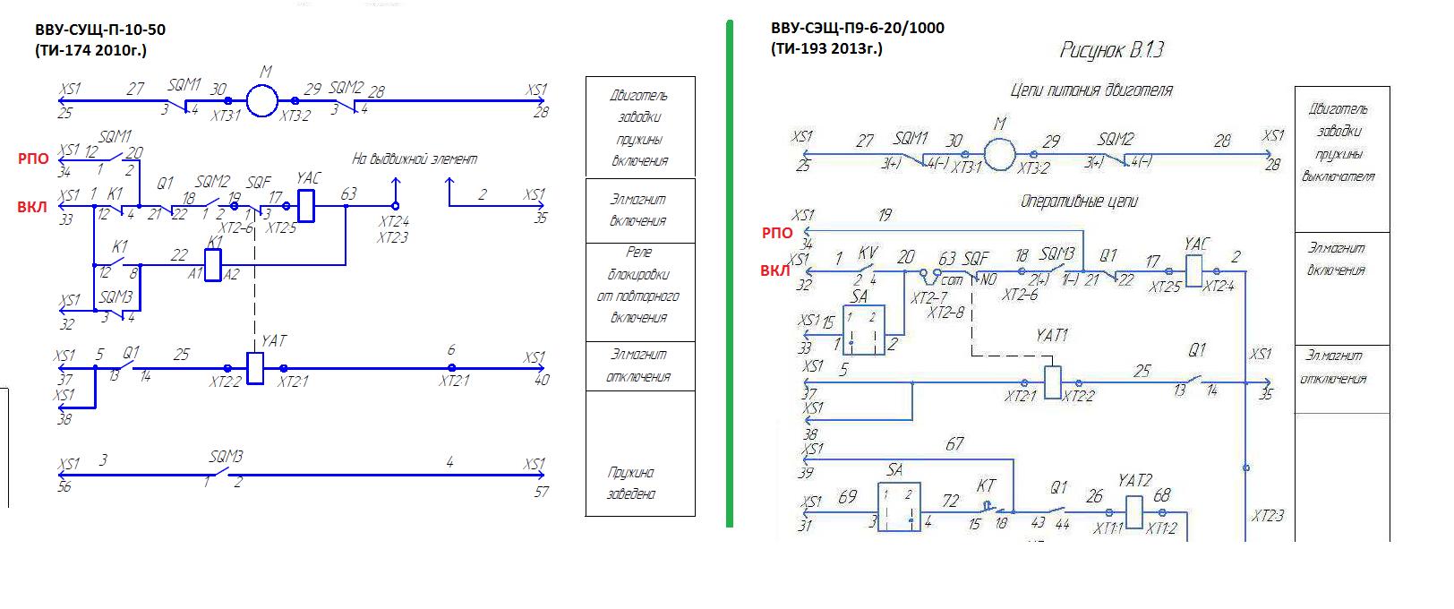 Различные схемы подключения РПО в цепях привода выключателей