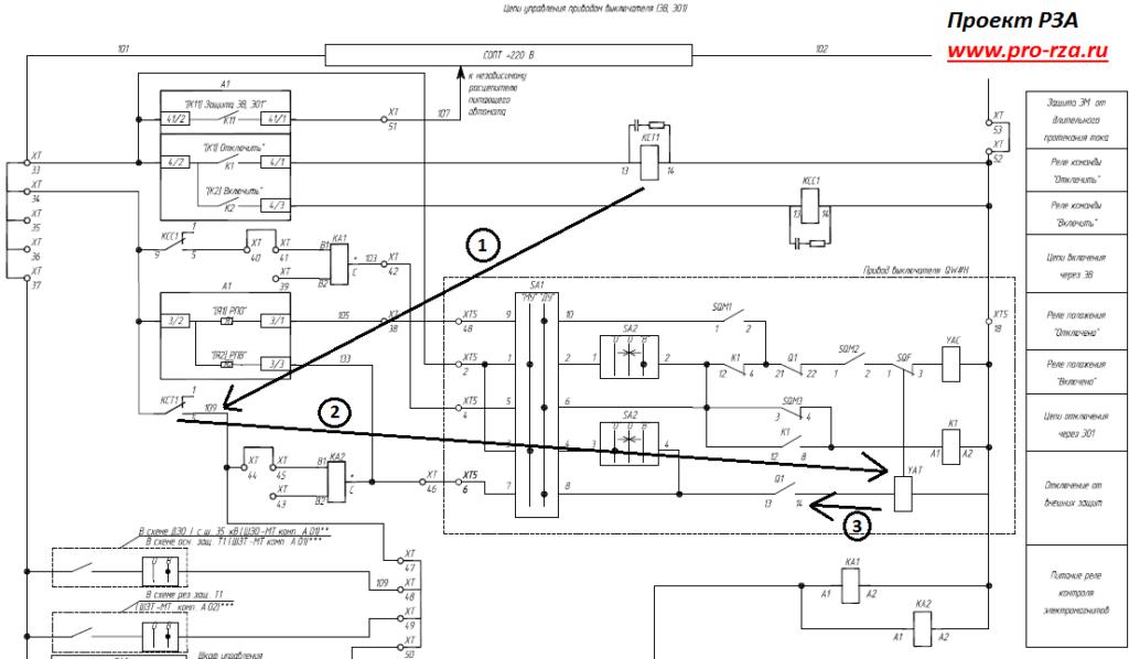 Схема управления пружинным приводом