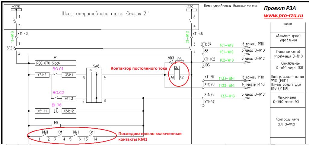 Использование контакторов в цепях привода силового выключателя 35-220 кВ