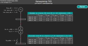 Калькулятор токов КЗ для проверки чувствительности защит трансформатора 6(10)/0,4 кВ