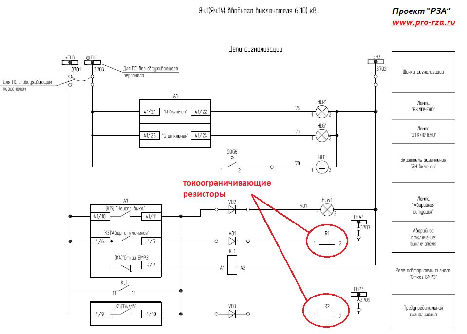 Резисторы в цепях сигнализации на подстанции (токоограничивающие)