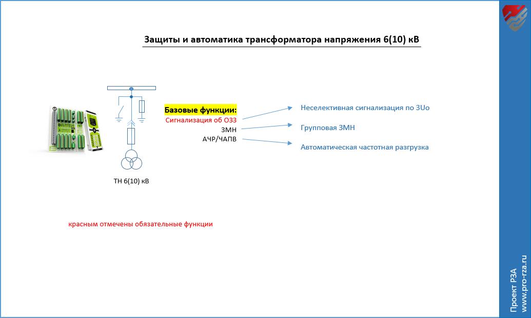 Защиты и автоматика трансформатора напряжения (ТН) 6-10 кВ