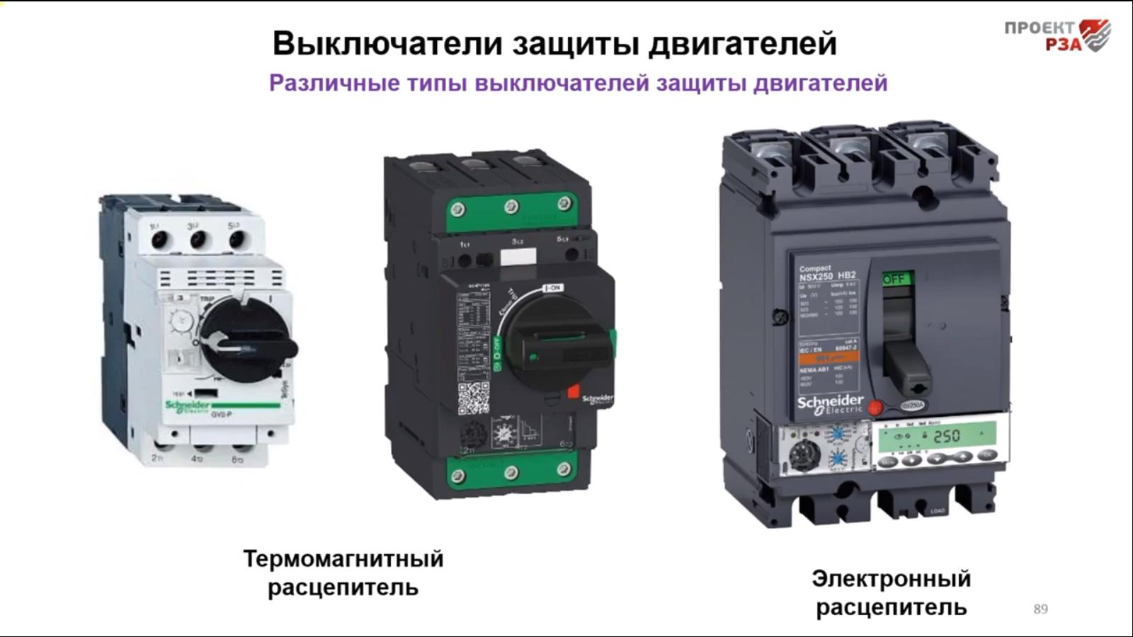 Автоматические выключатели двигателей 0,4 кВ